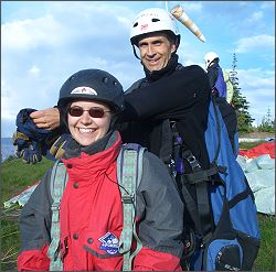 Scott Watwood and passenger ready to launch and paraglider.